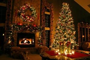 クリスマス、ニューイヤー、暖炉